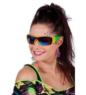 Neon Groen Gele Jaren 80 Ski Zonnebril