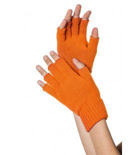 Oranje Gebreide Vingerloze Handschoenen