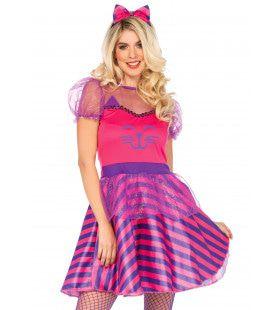Roze Miss Cheshire Cat Vrouw Kostuum
