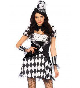 Zwart Wit Mad Hatter Vrouw Kostuum