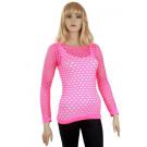 Visnet Shirt Jaren 80 Popmuziek Ster Roze Vrouw