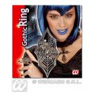 Gothic Ring Spin En Web Met Zwarte Gemsteen